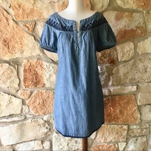 Zara Dresses - Zara Embroidered Chambray Dress.